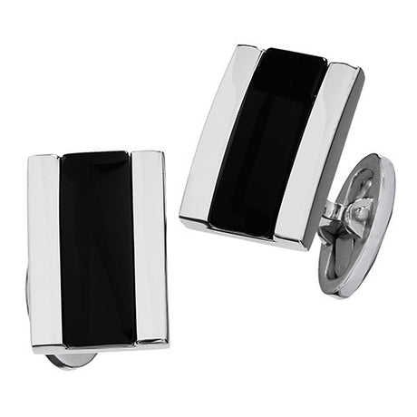 Black Onyx Thick Rectangle Gemstone Cufflinks by Jan Leslie