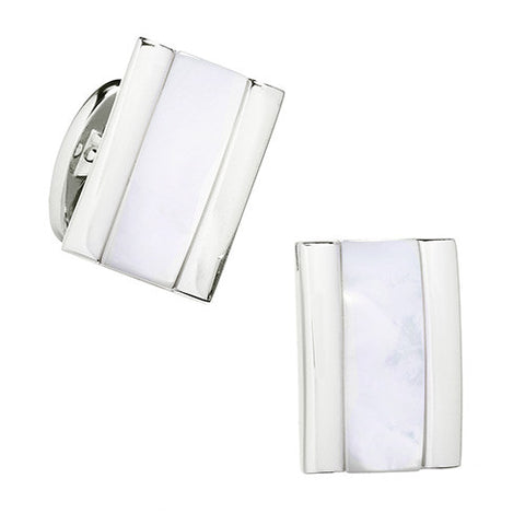 Rectangular Silver and Mother-of-Pearl Striped Cufflinks