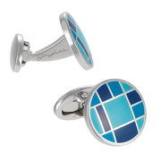 Blue Checked Button Cufflinks by Jan Leslie