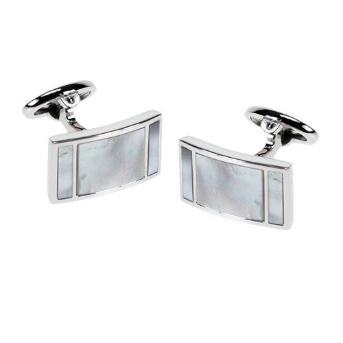 Mother of Pearl Curved Rectangle Sterling Silver Cufflinks