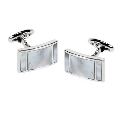 Mother of Pearl Curved Rectangle Sterling Silver Cufflinks Sale Only Jan Leslie Jan Leslie