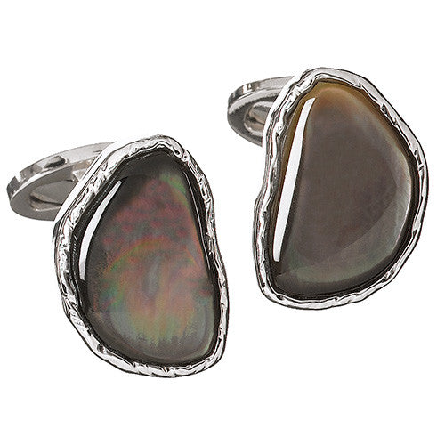 Grey Mother of Pearl Abstract Gemstone Cufflinks by Jan Leslie