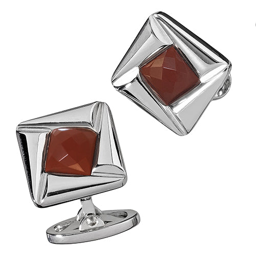 Square Pinwheel Cufflinks with Faceted Red Carnelian