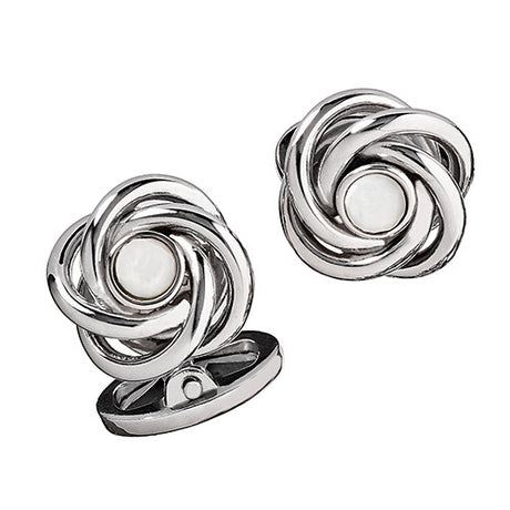 Sterling Silver Knot Cufflinks with Gemstone Centers - Jan Leslie Cufflinks and Accessories