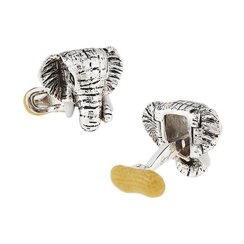 Sterling Silver Elephant with Peanut Cufflinks