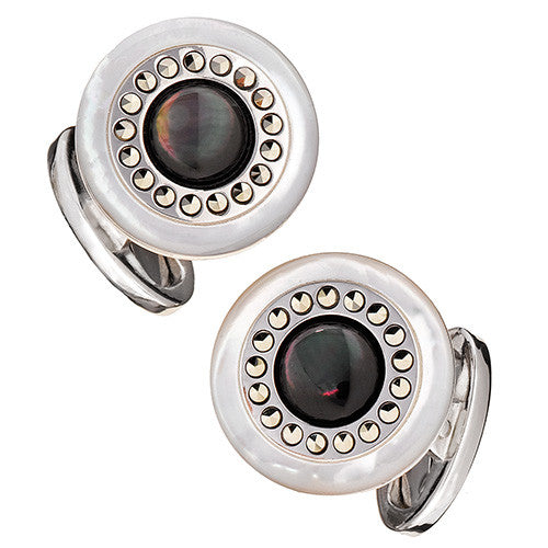 Round Mother-of-Pearl Cufflinks in Marcasite Setting - Jan Leslie Cufflinks and Accessories
