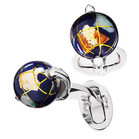 Spinning Lapis Globe Cufflinks with Semi-Precious Stone Inlay
