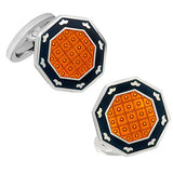 Orange and Black Octagon Button Cufflinks by Jan Leslie