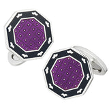 Purple and Black Octagon Button Cufflinks by Jan Leslie