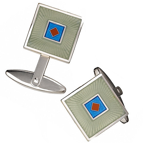 Blue and Yellow Square Enamel Cufflinks with Diamond Accents by Jan Leslie