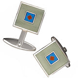 Grey and Blue Square Enamel Cufflinks with Diamond Accents by Jan Leslie