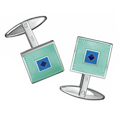 Square English Enamel Cufflinks with Diamond Accents - Jan Leslie Cufflinks and Accessories