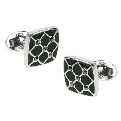 Marcasite and Black Enamel Soft Square Cufflinks - Jan Leslie Cufflinks and Accessories