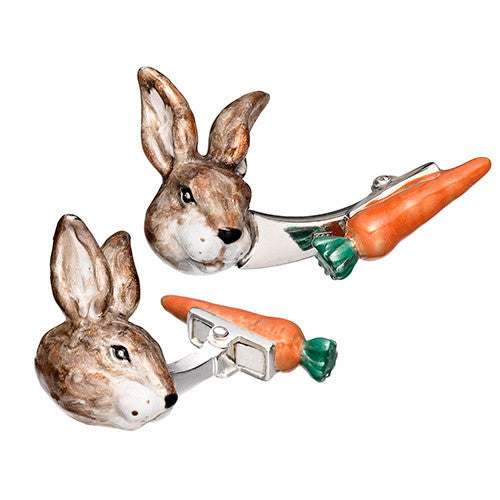 Easter Rabbit and Carrot Cufflinks by Jan Leslie