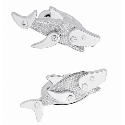 Silver Shark Cufflinks by Jan Leslie