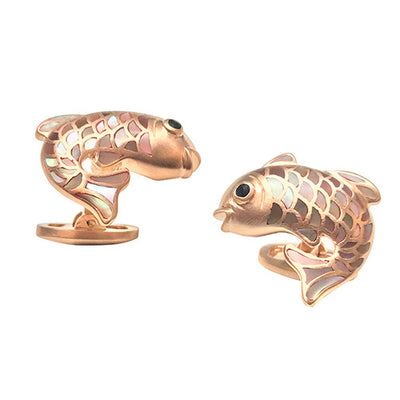 Gemstone Koi Fish Cufflinks - Jan Leslie Cufflinks and Accessories