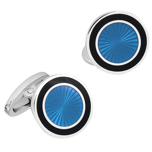 English Enamel Round Sunburst Cufflinks - Jan Leslie Cufflinks and Accessories