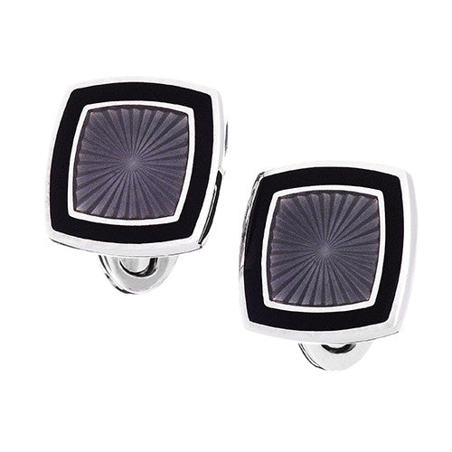 Emerald with Navy Enamel Soft Square Cufflinks by Jan Leslie