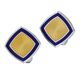 Yellow and Blue Enamel Soft Square Cufflinks by Jan Leslie