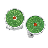 Neon Green and Orange Enamel Ferris Wheel Button Cufflinks by Jan Leslie