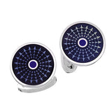 Grey and Purple Enamel Ferris Wheel Button Cufflinks by Jan Leslie