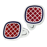 Red with Navy Enamel Criss-Cross Square Cufflinks by Jan Leslie