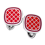 English Enamel Criss-Cross Square Cufflinks - Jan Leslie Cufflinks and Accessories