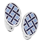 Light Blue with Navy Enamel Oval Criss-Cross Cufflinks by Jan Leslie