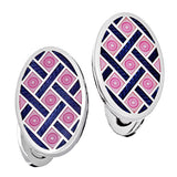 Pink with Navy Enamel Oval Criss-Cross Cufflinks by Jan Leslie