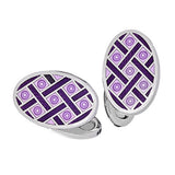 Purple with Navy Enamel Oval Criss-Cross Cufflinks by Jan Leslie