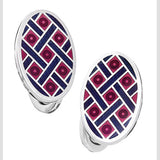 Red with Navy Enamel Oval Criss-Cross Cufflinks by Jan Leslie