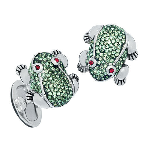 Green Crystal Frog Cufflinks by Jan Leslie