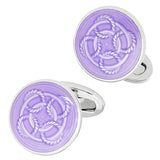 Purple Rope Pattern English Enamel Cufflinks by Jan Leslie