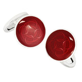 Red Rope Pattern English Enamel Cufflinks by Jan Leslie