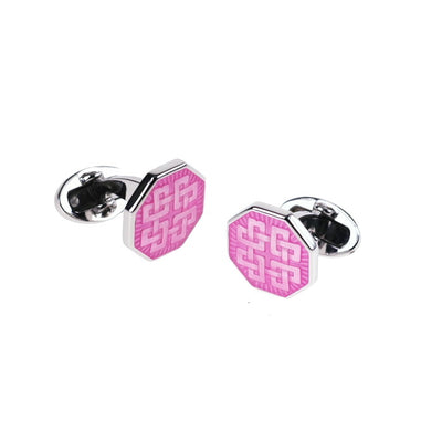 Colorful Thread Pattern Octagon English Enamel Cufflinks Sale Only Jan Leslie Bright Pink Jan Leslie