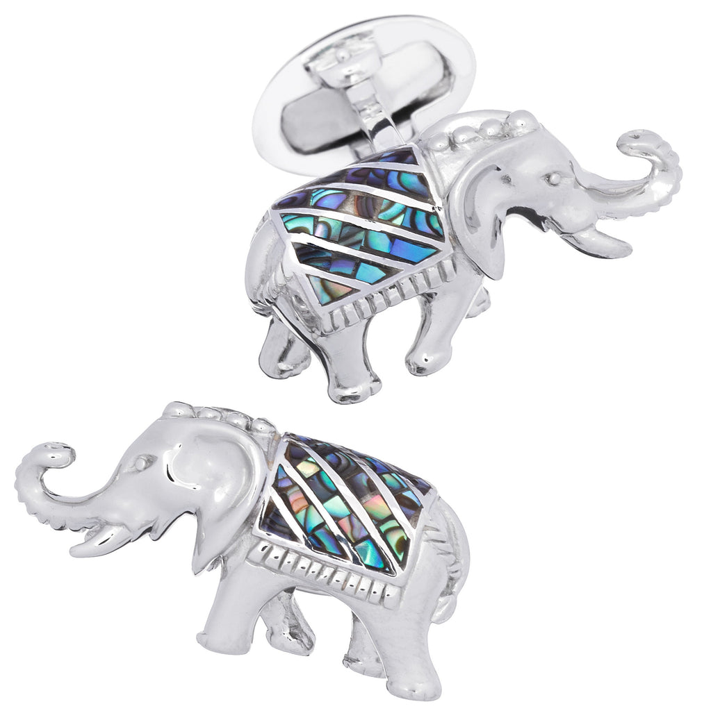 Abalone Gemstone Elephant Cufflinks by Jan Leslie