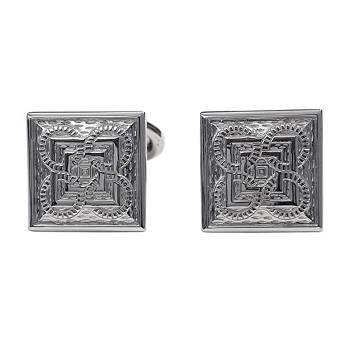 Square and Circle Patterned English Enamel Sterling Silver Cufflinks