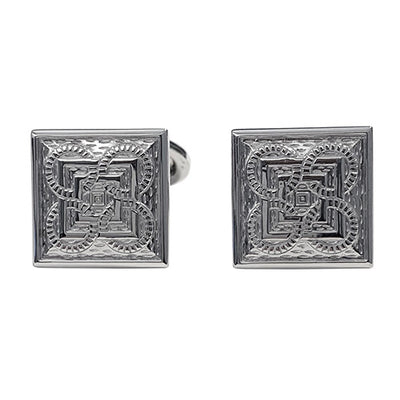 Square and Circle Patterned Sterling Silver Cufflinks Cufflinks Jan Leslie Clear Jan Leslie