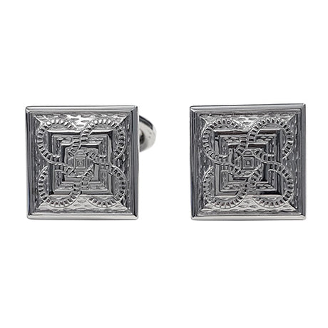 Square and Circle Patterned Sterling Silver Cufflinks