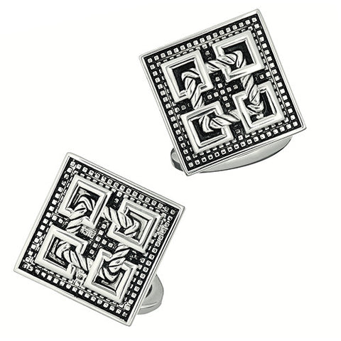 Antique Silver Square Cufflinks with Rope Design