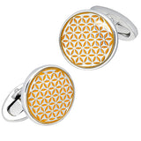 Yellow Enamel Button Cufflinks by Jan Leslie