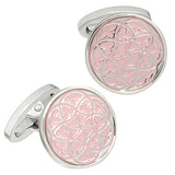 Pink Florentine Patterned Enamel Cufflinks by Jan Leslie