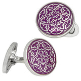 Purple Florentine Patterned Enamel Cufflinks by Jan Leslie