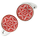 Red Florentine Patterned Enamel Cufflinks by Jan Leslie