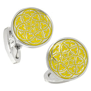 Florentine Patterned English Enamel Cufflinks - Jan Leslie Cufflinks and Accessories