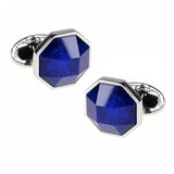 Blue Gemstone and Crystal Doublet Faceted Cufflinks by Jan Leslie