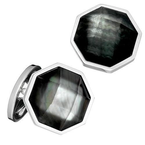 Black Gemstone and Crystal Doublet Faceted Cufflinks by Jan Leslie