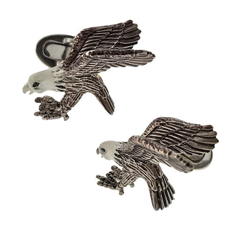 Pave Eagle Head Cufflinks