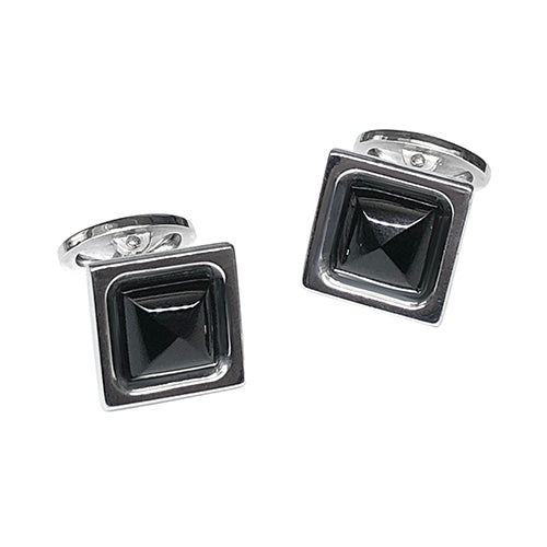 Faceted Black Onyx Sterling Silver Cufflinks - Jan Leslie Cufflinks and Accessories