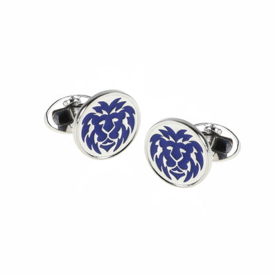 Hand-Painted Enamel Lion Round Sterling Silver Cufflinks Sale Only Jan Leslie Blue Jan Leslie